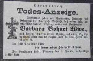 Todesanzeige Barbara Bohnet 1900