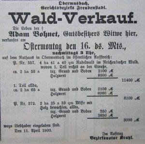 Waldverkauf 1900
