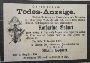 Katharine Bohnet 1900 gestorben