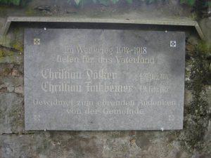 Gedenktafel der 1. Weltkrieg-Gefallenen