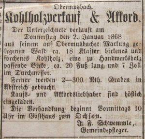 Holzkohleverkauf 1867