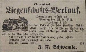 Hofverkauf am 20.01.1886