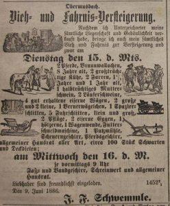 Hofgegenstände Verkauf am 20.01.1886