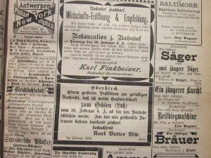 Anzeige Personalsuche 1892