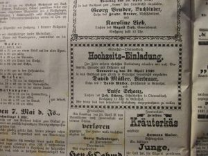 Hochzeit Luise Schanz 1898
