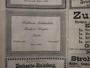 Verlobungsanzeige Friedrich Kappler 1898