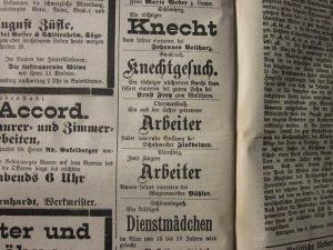 Anzeige Arbeitersuche 1899