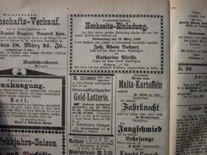 Hochzeitsanzeige Adam Bohnet 1899