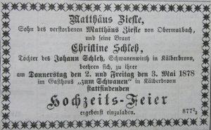Hochzeitsanzeige Matthäus Ziefle 1878