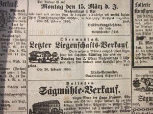 Hausversteigerung 1880