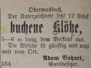 Verkaufsanzeige von 1886