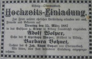 Hochzeitseinladung 1887