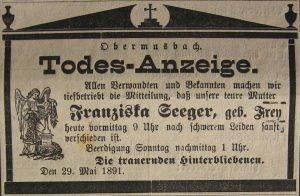 Todesanzeige Franziska Seeger