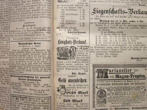 Anzeige Langholzverkauf 1892