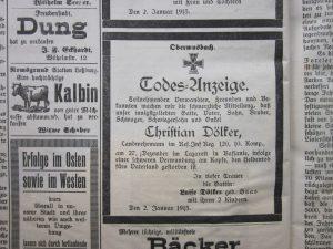 Todes-Anzeige Christian Dölker, gefallen am  27.12.1914