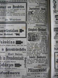 Langholzverkauf 1887