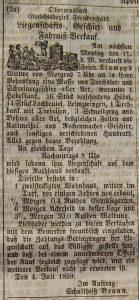 Anzeige Hausverkauf 1859