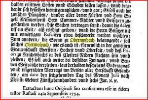 Ende vom Urkundentext im Buch von 1754