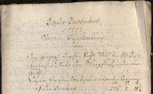 Grenzsteinbeschreibung Kienberggrenze von 1777