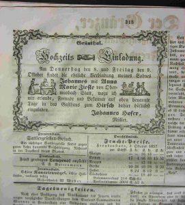 Hochzeit Anna Maria Ziefle 1857