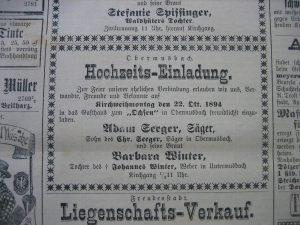 Hochzeitsanzeige 1894