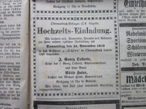 Anzeige Hochzeit 1912