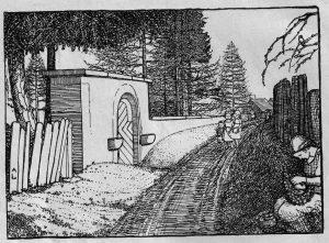 Tor mit Friedhofsmauer