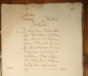 Ausschnitt aus dem Untermusbacher Lagerbuch von 1687. Hausbeschreibung von Fam. Müller als Dokubeispiel.