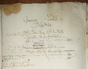 Ausschnitt aus dem Untermusbacher Lagerbuch von 1687. Dokumentenbeispiel mit Text: Sägetage von Jacob Keck