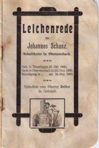 Leichenpredigt Johannes Schanz 1905