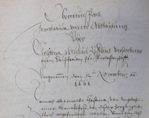Inventarium Christine Zifle 1661