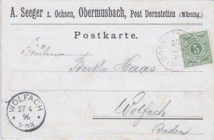 Alte Postkarte von 1896