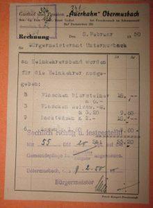 Rechnung über Kriegsheimkehrer-Abend 1950