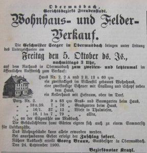 Hofverkauf 1900