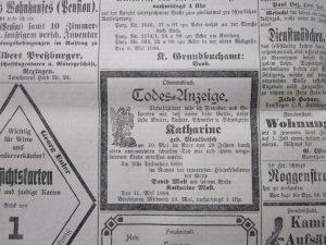 Todes-Anzeige Katharina Mast 1908
