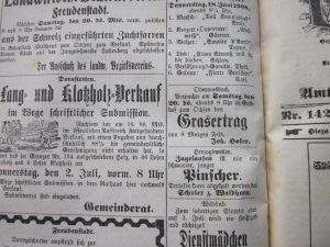 Grasverpachtung durch Hofer 1908