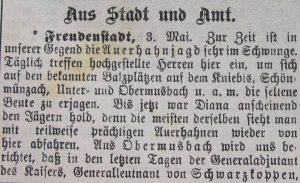 Auerhahnjagd 1900