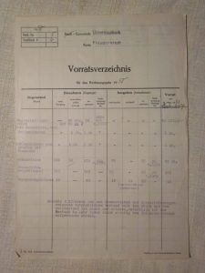 Vorratsverzeichnis von Zeugen im Gemeinde Lager