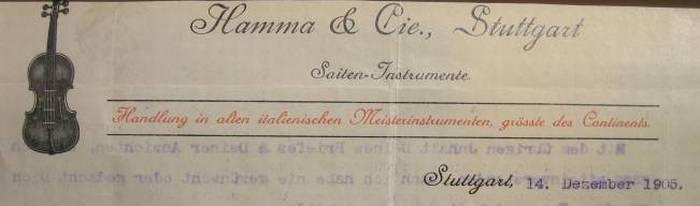 Briefkopf Fa. Hamma 1906