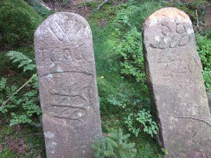 Doppelgrenzsteine von 1606 und 1777
