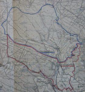 Karte mit den Gemeindegrenzen zur Eingemeindung 1938