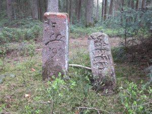 Doppelte Grenzsteine, der rechte von 1606