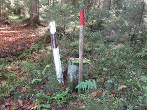 Grenzstein mit Leitpfosten nebenstehend