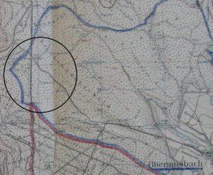 Karte mit Grenzabschnitt Krähenhardt