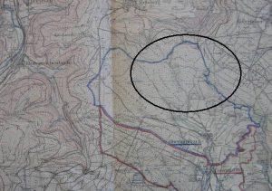 Ortskarte mit eingekreisten Grenzabschnitt