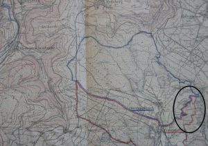 Ortskarte mit eingekreisten Grenzstein Bereich