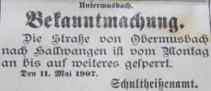 Straßensperrung wegen Bau der Aacher Wasserleitung 1907