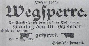 """Anzeige aus der Tageszeitung """"Der Grenzer"""" 1906"""