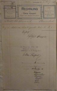 Rechnung Druck Ehrenbürgerurkunde 1910