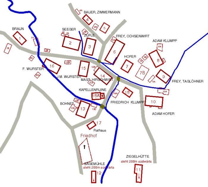 Lageplan Obermusbach 1836 mit Nebengebäude